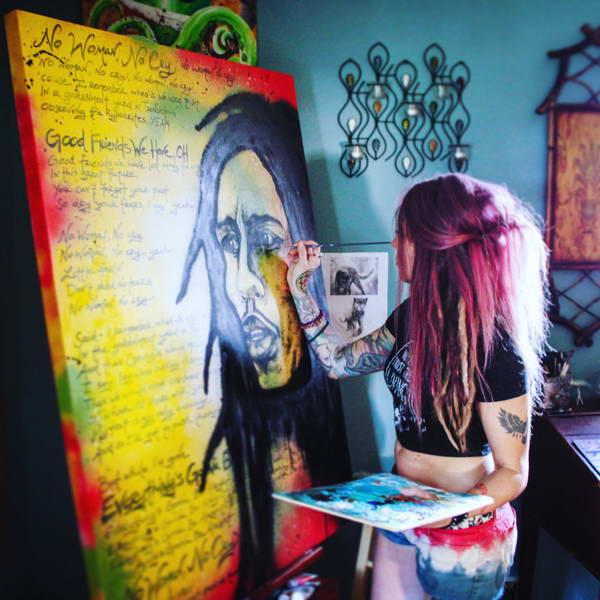 Lauren Phillips at Work in her Studio