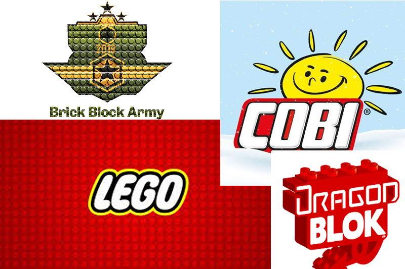 Logos of toy brick companies