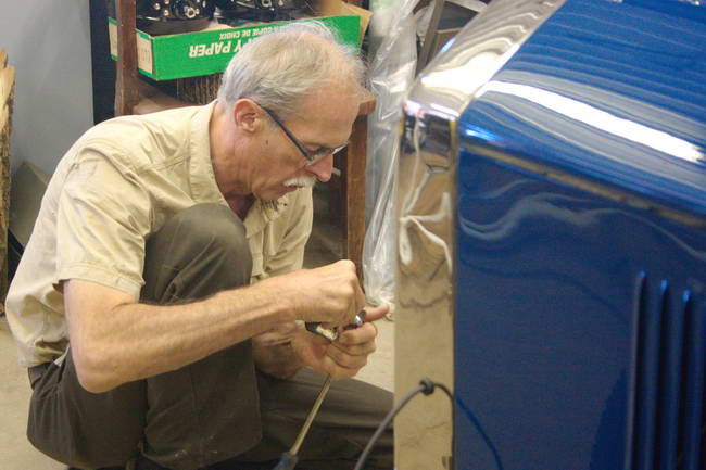 Stan Uher at Work on a Model 25 Gray-Dort